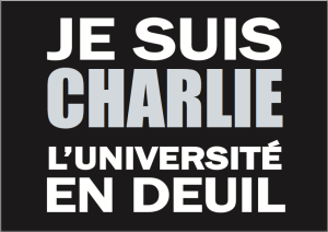 Sign distributed by email for printing out and carrying at the demonstration to protest the murders of the Charlie Hebdo journalists and policemen.