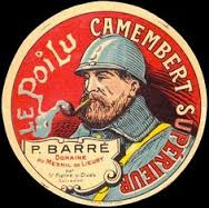 Camembert is sold in wooden boxes.  Here is one with a picture of a poilu, or French soldier from World War I, on the lid.