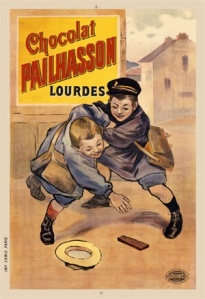 Old poster advertising a French brand of chocolate.  Photo from http://www.postercorner.com/Culinary-Chocolate-Palhasson-Vintage-Poster-Print-p/00720.htm.