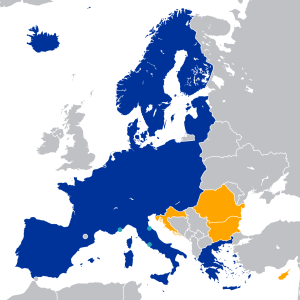 Map of the Schengen Area. Countries in blue are already members, and countries in orange will be joining. Photo source:
