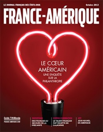 "A cover of France-Amérique, a magazine for French lovers of America. The title of the cover story is ""The American heart: an investigation of philanthropy."" Picture source: france-amerique.com"