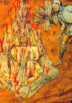 Cathars being burnt alive at Montségur.  Picture source: http://vivre-au-moyen-age.over-blog.com/article-13095618.html
