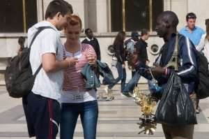 African Eiffel Tower seller