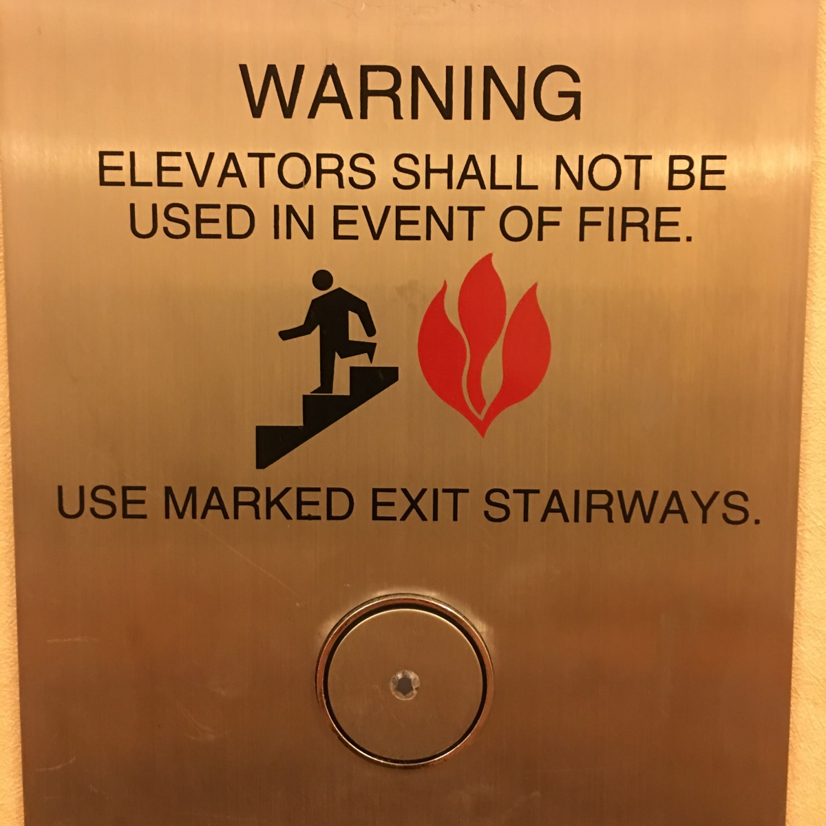 Elevators shall not be used in case of fire–seriously??