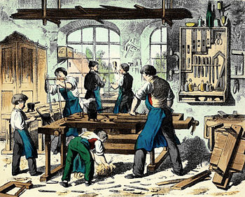 Woodworking shop, circa 1880. Picture source: https://goo.gl/PQqRCX