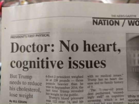 Ambiguity II: Trump, cognitive issues, and no heart